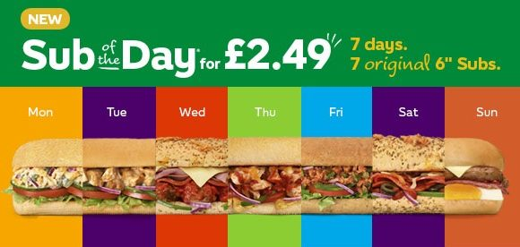 Subway: Grab the Sub Of The Day for £2.49